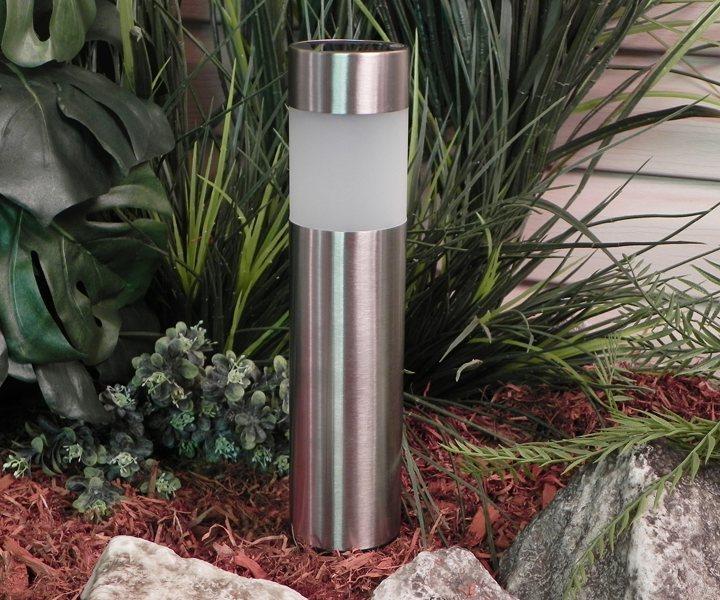 Paradise gl23158ss4 stainless steel solar bollard light with white led