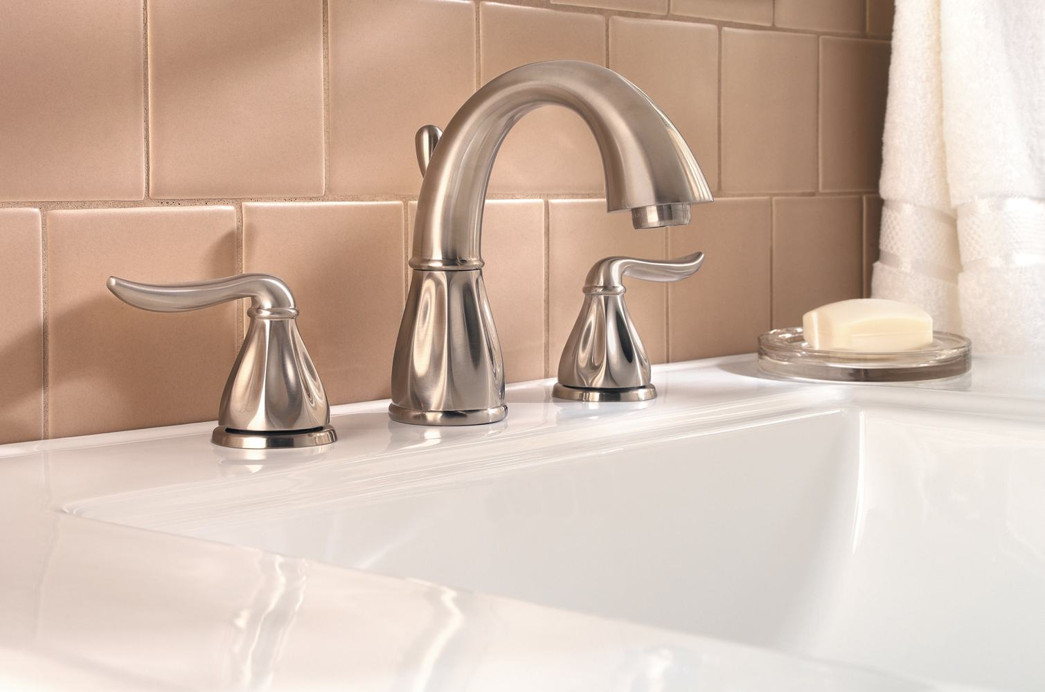 bathroom faucet in brushed nickel touch on bathroom sink faucets