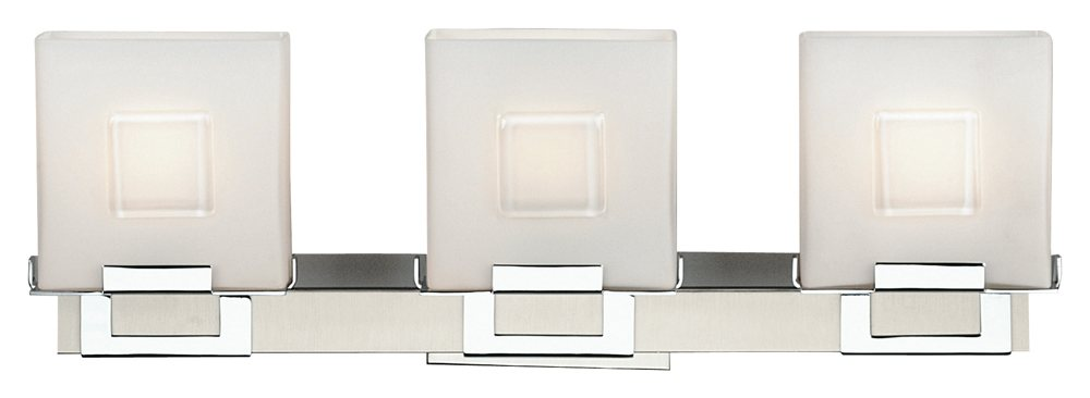 Capital Lighting 4 Light Vanity Fixture Brushed Nickel: Forecast Lighting F442136NV Square 3 Light Bath, Satin