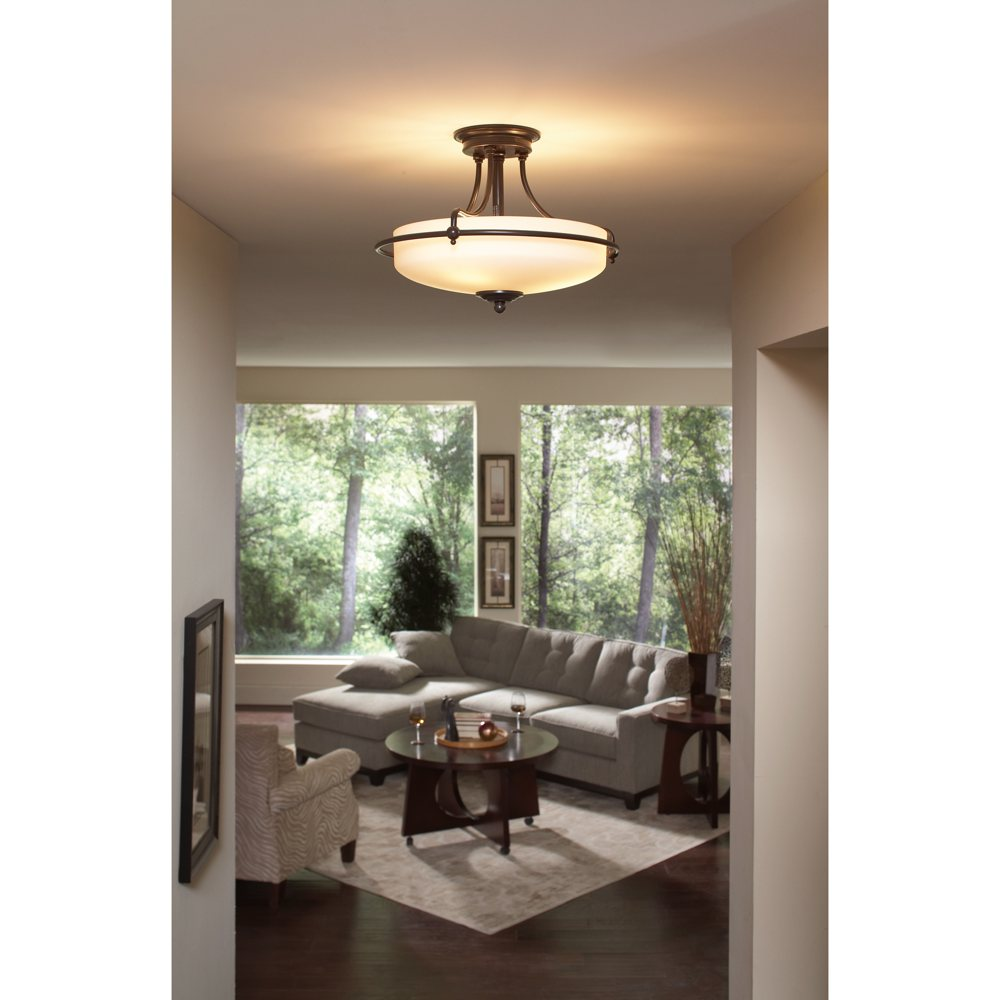 Quoizel GF1717PN Griffin 3 Light 17 Inch Semi Flush Mount Palladian Bronze