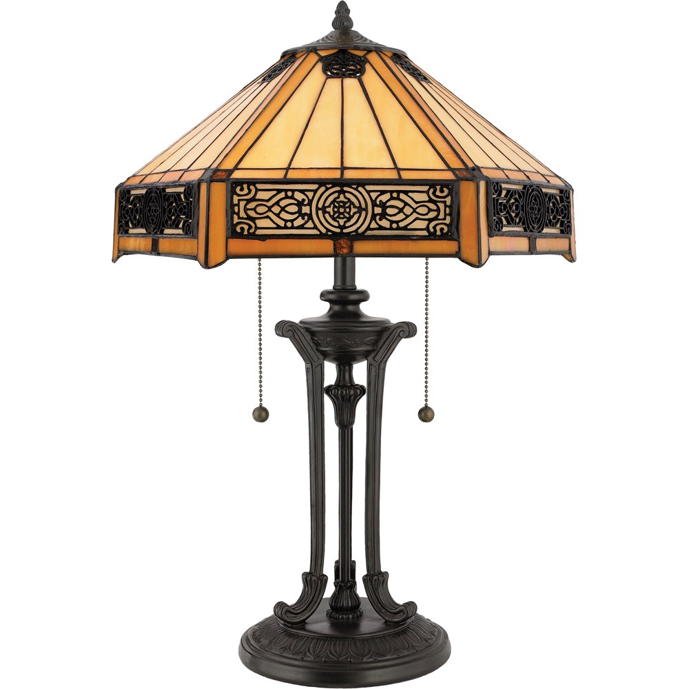 Amazon Com Quoizel Indus Tiffany 2 Lt Table Lamp Home