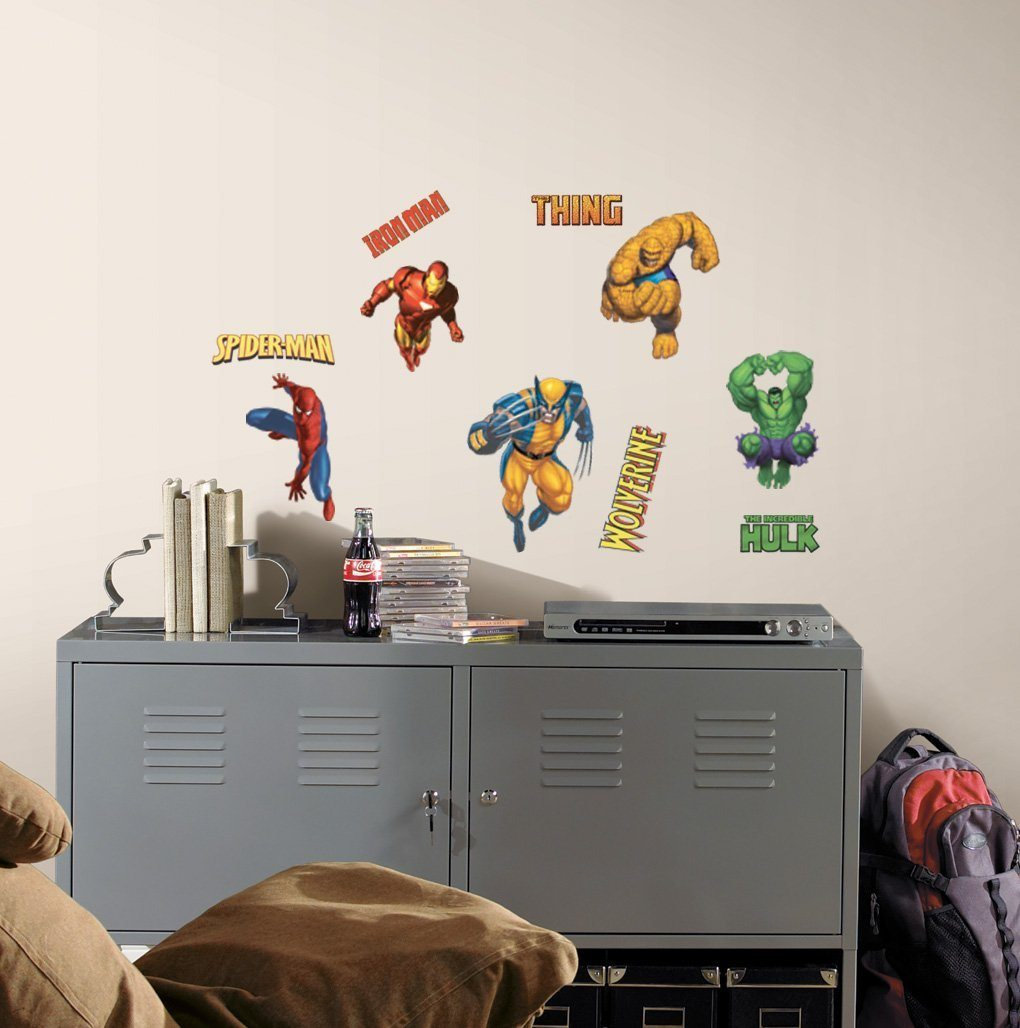 Roommates rmk1154scs marvel heroes peel and stick wall for Amazon wall mural
