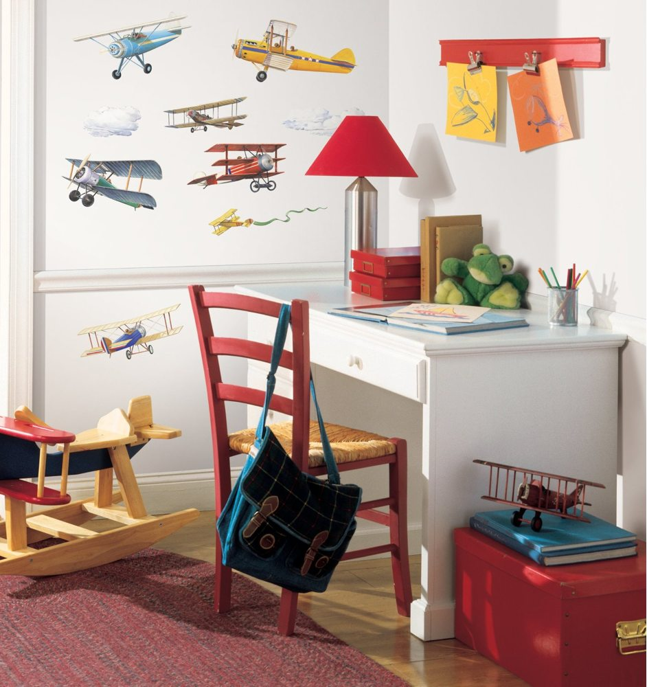 Roommates Rmk1197scs Vintage Planes Peel And Stick Wall Decals Tools Home Improvement