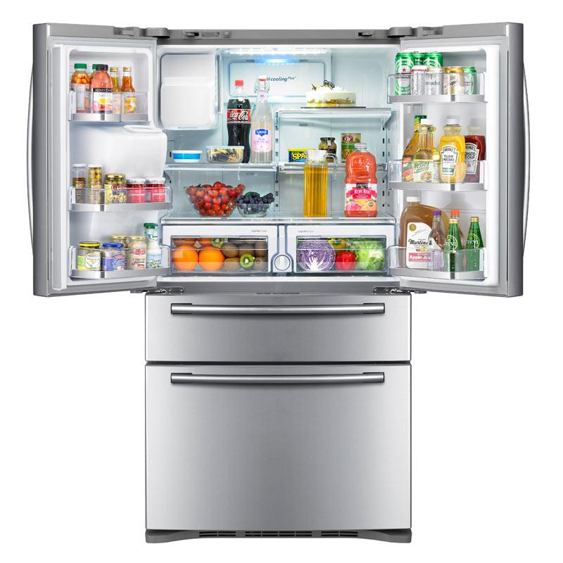 Samsung 28 cubic foot 4 door refrigeratormsung rf4287habp black samsung stainless steel french door refrigerator with publicscrutiny Images
