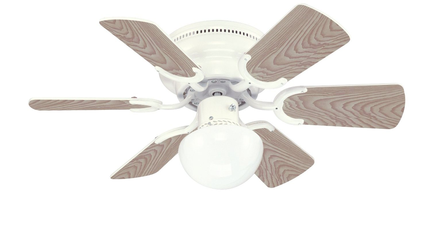Petite 6-Blade 30-Inch 3-Speed Hugger-Style Ceiling Fan with Light ...