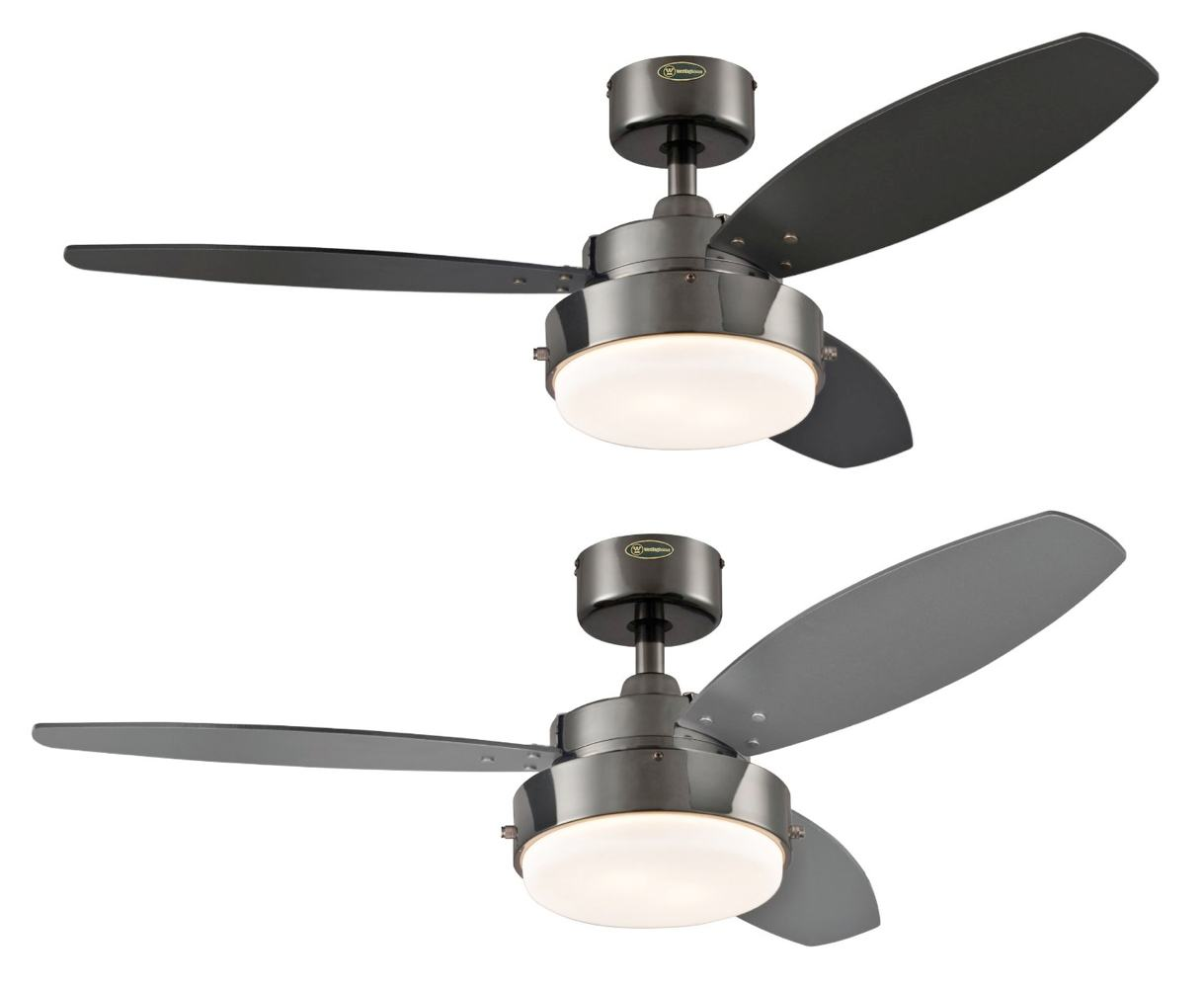 Westinghouse 2 Light 42 Reversible 3 Blade Indoor Ceiling FAN GUN Metal