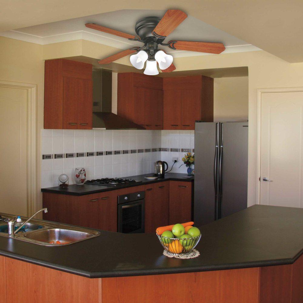trio three light 42 inch reversible five blade indoor ceiling fan. Black Bedroom Furniture Sets. Home Design Ideas