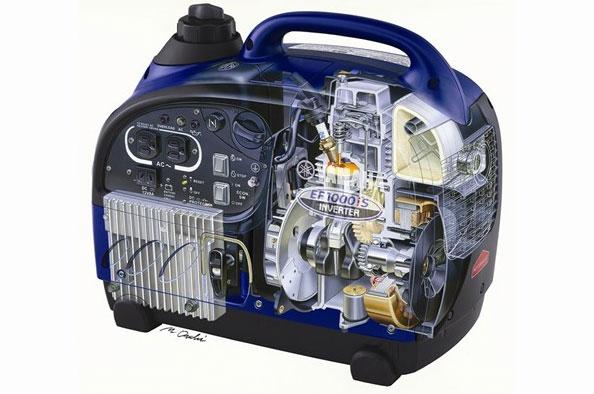 Запуск.  Гарантия, мес.  2,5. Генератор Yamaha EF 1000iS с инверторной схемой является самым легким (13 кг)...