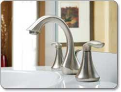 Moen Eva Two-Handle High Arc Bathroom Faucet Lifestyle Shot