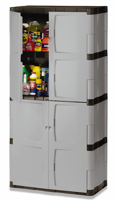 Com Rubbermaid 7083 72 Inch Four Shelf Double Door Resin Storage