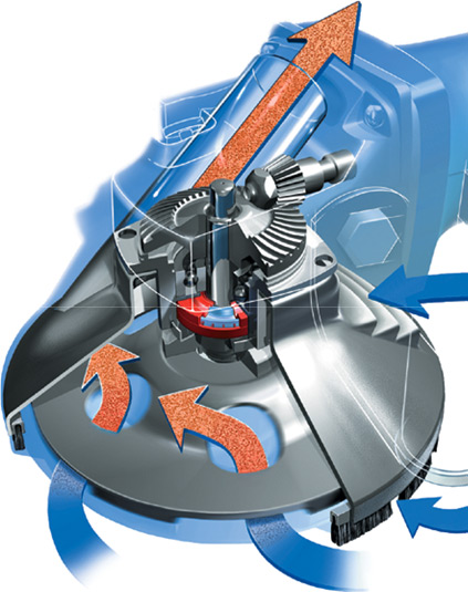 The specially designed head provides clean, safe dust extraction. View