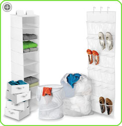 The eight shelf hanging organizer is great for sweaters, hats, scarfs...