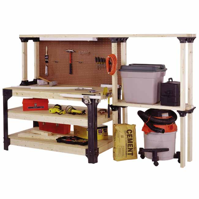 New Table Workbench Shelves Storage Kit Unit Shop Garage Wood Tools Craftsman