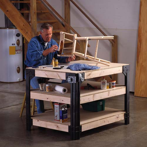 Wood Industrial Work Bench Table Shelving Storage System