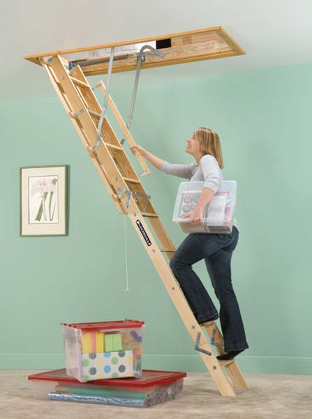 Louisville Ladder L254p 250 Pound Duty Rating Wooden Attic