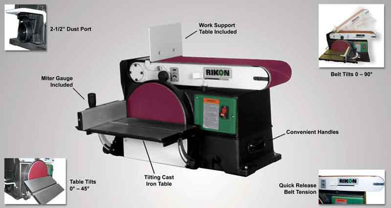 Rikon 50 120 6 by 48 inch belt 10 inch disc sander power for 10 inch sanding disc table saw