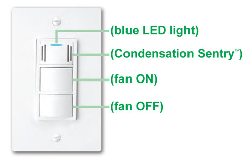 Dewstop fs 100 condensation control sentry fan switch white wall light switches Humidity activated bathroom fan