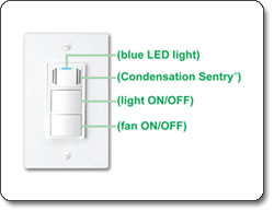 DewStop Condensation Sentry Fan and Light Switch, White