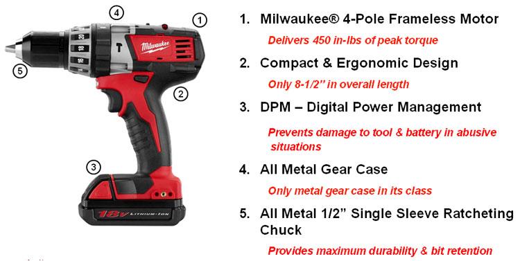 Milwaukee M18 2602 22ct Cordless 1 2 Inch Hammer Drill