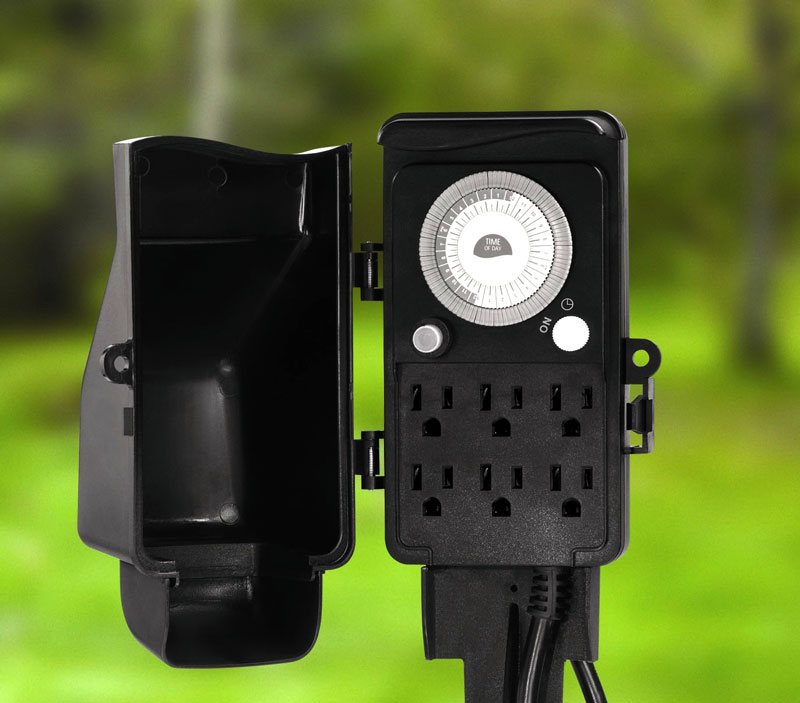 outdoor daily stake timer with 6 grounded outlets black wall timer. Black Bedroom Furniture Sets. Home Design Ideas