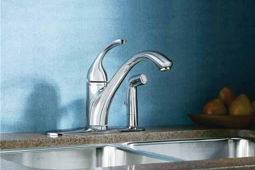 KOHLER K 10413 CP Forte Single Control Kitchen Sink Faucet, Polished Chrome