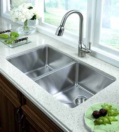The double-bowl design offers plenty of room for prepping and cleaning ...