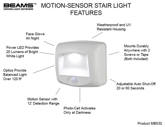 Mr. Beams MB 530 Battery-Operated Indoor/Outdoor Motion-Sensing ...