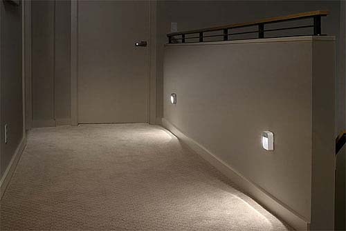 Mr beams mb723 battery powered motion sensing led stick anywhere low profile wall mounted light is easily installed in a hallway aloadofball Images