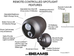 Mr. Beams MB371 Remote Controlled Spotlight