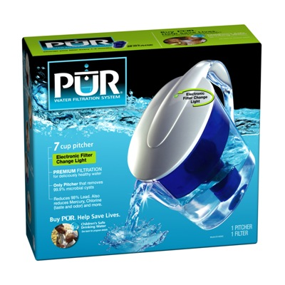 Pur 7 Cup Water Filtration Pitcher with Electronic Filter Change Light (CR-6000C)