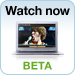 'Watch now - BETA' with image of laptop playing movie 'Semi-Pro'
