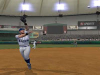 An outfielder tracking down a home run on the warning track in Major League Baseball 2K11 for Wii