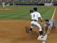 Keeping a runner close at third in Major League Baseball 2K11 for Wii