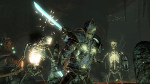 Dual wielding swords against multiple skeleton enemies in Two Worlds II