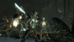 Dual wielding swords against multiple skeleton enemies in Two Worlds II