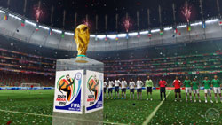 The FIFA World Cup Trophy on the pitch before a game in 2010 FIFA World Cup