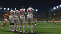 Defenders facing down a free kick in 2010 FIFA World Cup