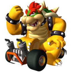Bowser with his kart in in 'Mario Kart DS'