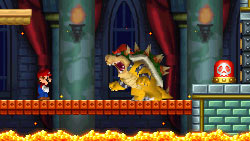 Mario facing Bowser in an underworld boss battle New Super Mario Bros. for DS