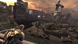 Cole overlooking an expansive urban environment in ''inFAMOUS''