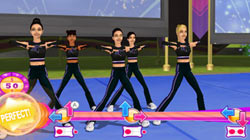 Cheer squad in black following prompts on the Wii Balance Board in 'All Star Cheer Squad' for Wii