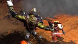 One on one battle with Ork boss in &#39Warhammer 40,000: Dawn of War II&#39