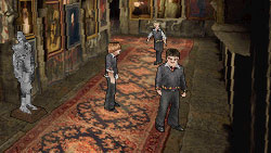 Harry exploring Hogswart with friends in 'Harry Potter and the Half-Blood Prince' the Video Game