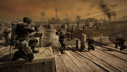 The Raven PMC fighting their way out of the docks in MAG