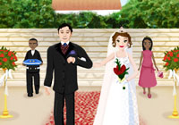 Bridal party coming down the aisle in 'Imagine Wedding Designer'