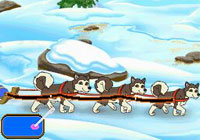 Using the DS stlyus to steer a dogsled in 'Dora the Explorer: Dora Saves the Snow Princess' for DS