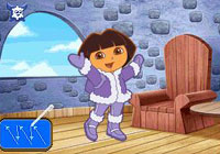Using the stylus to move Dora in 'Dora the Explorer: Dora Saves the Snow Princess'  for DS