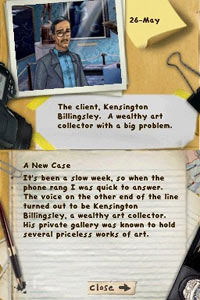 Player's case log screen from Mystery P.I. Portrait of a Thief