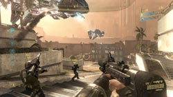 Firefight multiplayer mode from first-person perspective in ''Halo 3: ODST''