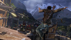 Drake catching some air on the rooftops to avoid enemy fire in 'Uncharted 2: Among Thieves'
